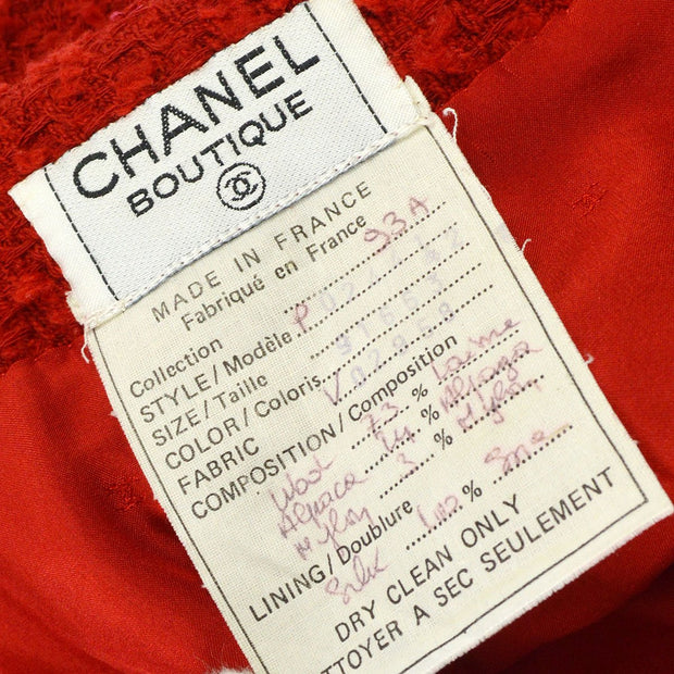 CHANEL 93A #42 Long Sleeve Set Up Suit Jacket Skirt Tweed Red