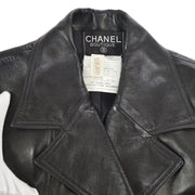 CHANEL 29 #38 Double Breasted Long Sleeve Coat Jacket Black