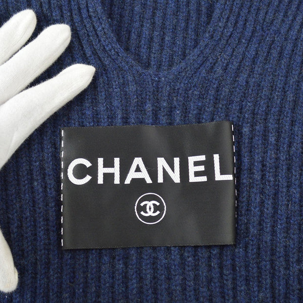 CHANEL 08C #38 Long Sleeve Knit Tops Shirt Navy