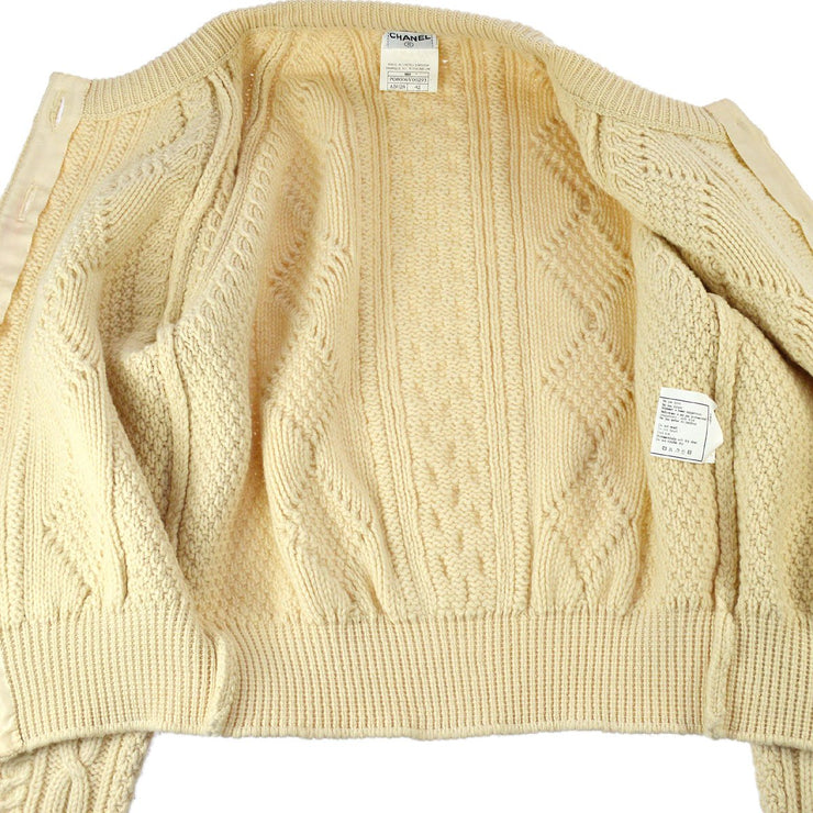 CHANEL 96A #42 Long Sleeves Knit Tops Cardigan Ivory