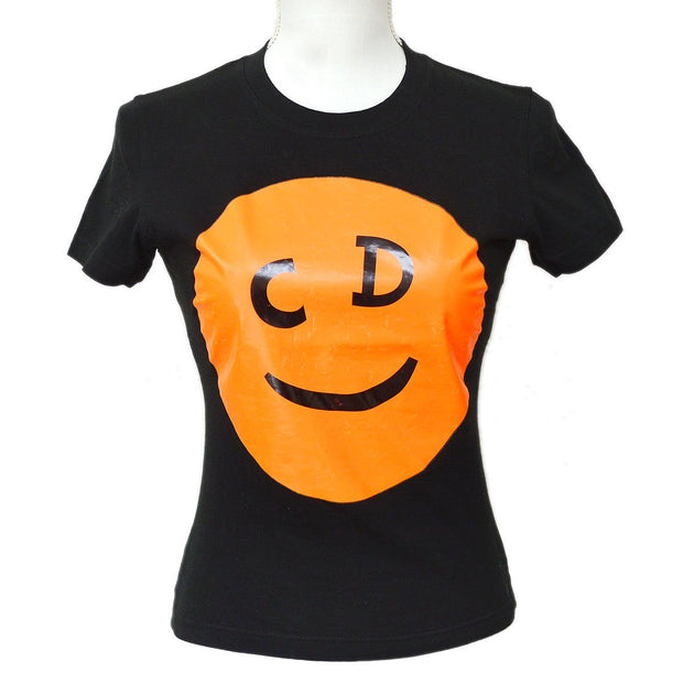 Christian Dior Short Sleeve Tops T-Shirt Black Orange