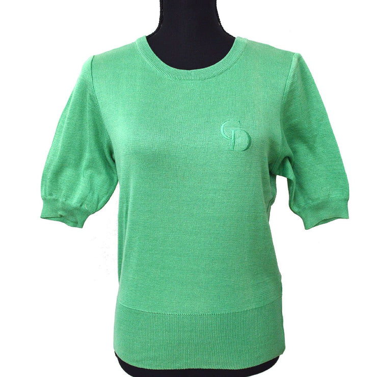 Christian Dior #M Short Sleeve Knit Tops Shirt Green
