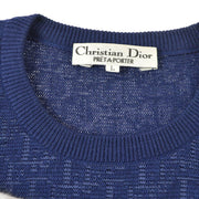 Christian Dior Trotter Pattern #L Long Sleeve Knit Tops Navy