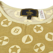 FENDI Short Sleeve Tops T-Shirt Brown Beige #44
