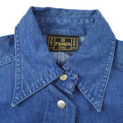 FENDI Short Sleeve Tops Shirt Indigo Denim