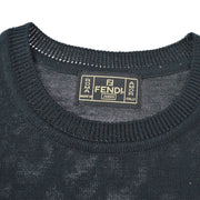 FENDI Short Sleeve Knit Tops Shirt Black