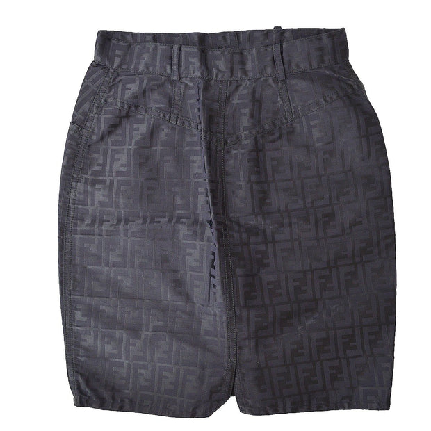 FENDI Zucca Pattern Above The Knee Skirt Black