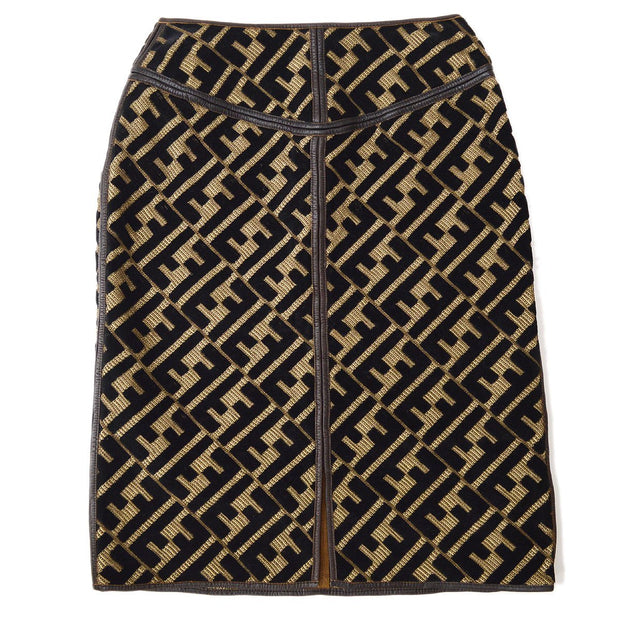 FENDI Zucca Pattern Skirt Black Brown #40