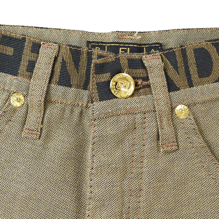 FENDI Logos Long Straight Pants Beige