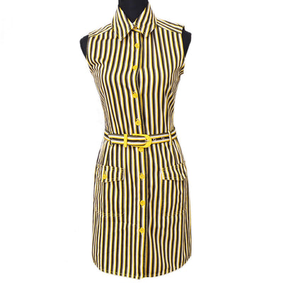 FENDI Stripe Pattern Sleeveless Dress Black Yellow