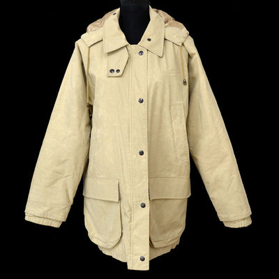 BURBERRY One Panel Sleeve Zip Up Coat Jacket With Hood Beige
