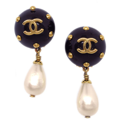CHANEL Imitation Pearl Shaking Earrings Black 96C