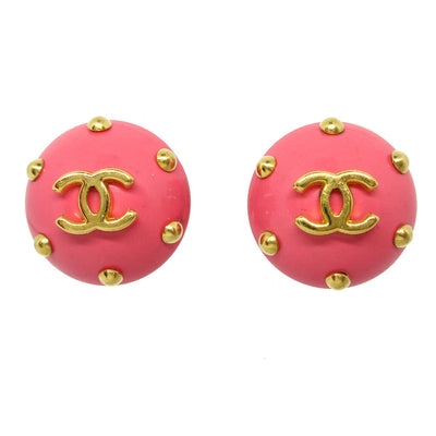 CHANEL Button Earrings Pink 96C