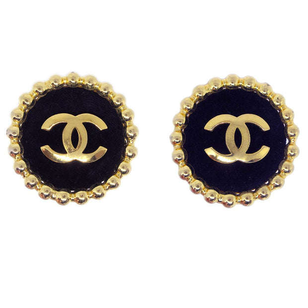CHANEL Jumbo Button Earrings Gold Black 23