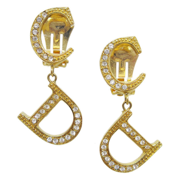 Christian Dior Charm Rhinestone Shaking Earrings Gold