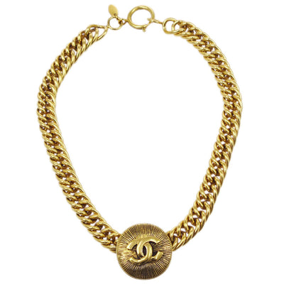 CHANEL Medallion Gold Chain Pendant Necklace