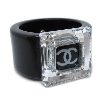 CHANEL Ring Black Clear Size 6.5 03C