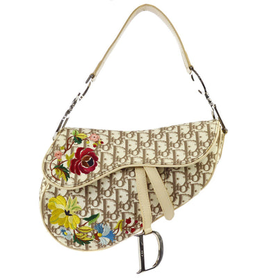 Christian Dior Flower Embroidery Saddle Hand Bag Ivory Beige