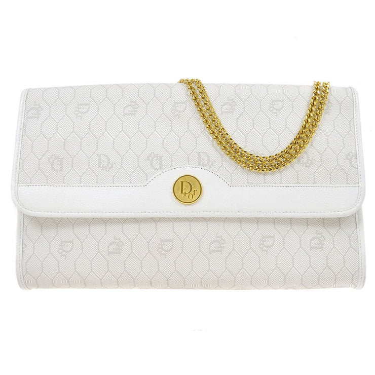 Christian Dior Honeycomb Chain Shoulder Bag White