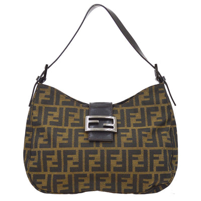 FENDI Zucca Pattern Hobo Hand Bag Brown