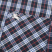 BURBERRY Check Pattern Front Opening Long Sleeve Tops Shirt Navy #M