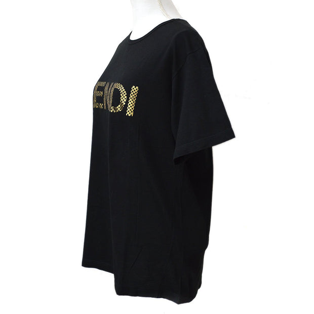 FENDI Logos Round-neck Short Sleeve Tops Shirt Black