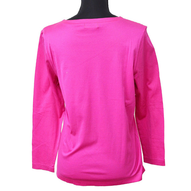 Yves Saint Laurent #M Round Neck Long Sleeve Tops Shirt Pink