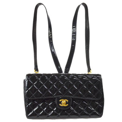 CHANEL Quilted Chain Backpack Bag Black