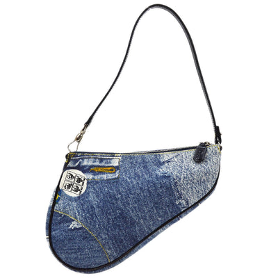Christian Dior Saddle Hand Bag Blue Black Denim Print