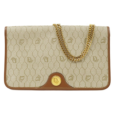 Christian Dior Honeycomb Double Chain Shoulder Bag Beige