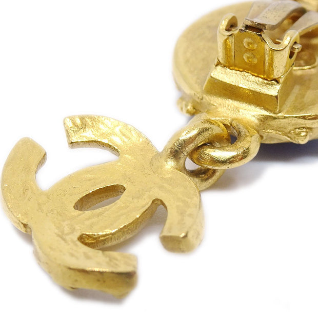 CHANEL Stone Shaking Earrings Gold Blue 96A