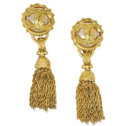 CHANEL Imitation Pearl Fringe Shaking Earrings Gold 94A