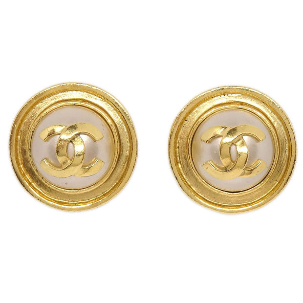 CHANEL Imitation Pearl Button Earrings Gold 95P