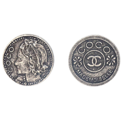 CHANEL Mademoiselle Button Earrings Silver 05P