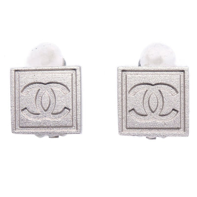 CHANEL Square Earrings Silver 04P