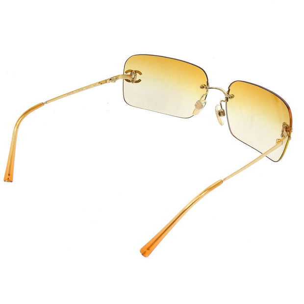CHANEL Rhinestone Sunglasses Eye Wear Orange