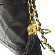 CHANEL Shoulder Bag Fringe Black