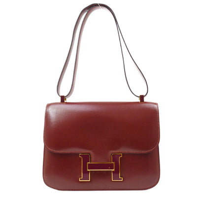 HERMES CONSTANCE 23 Shoulder Bag Burgundy Box Calf