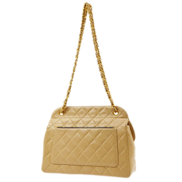 CHANEL Double Chain Shoulder Bag Bi-color Beige