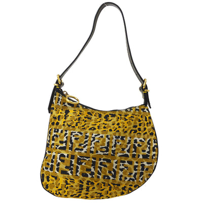 FENDI Zucca Leopard Pattern Hand Bag Gold Black