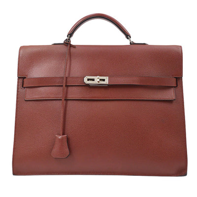 HERMES KELLY DEPECHE PM Briefcase Business Bag Rouge H Veau Epsom