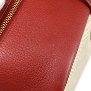 HERMES VICTORIA 43 Travel Hand Bag Beige Red Toile H Taurillon Clemence