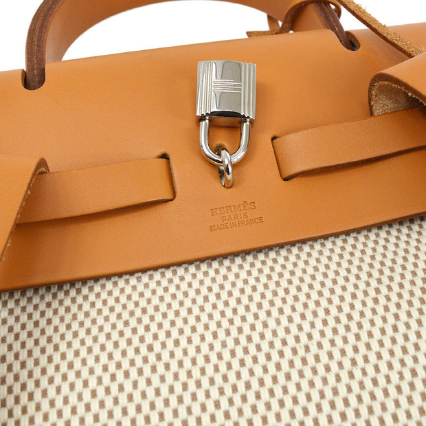 HERMES HERBAG Sac A Dos 2 in 1 Backpack Natural Toile-GM