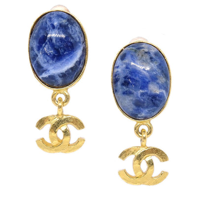 CHANEL Marble Stone Shaking Earrings Gold Blue 95A