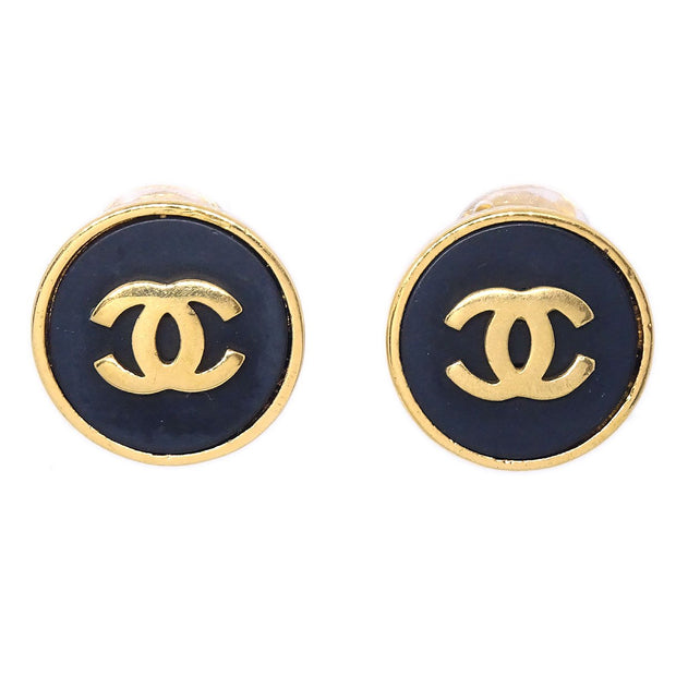 CHANEL Button Earrings Gold Black 23