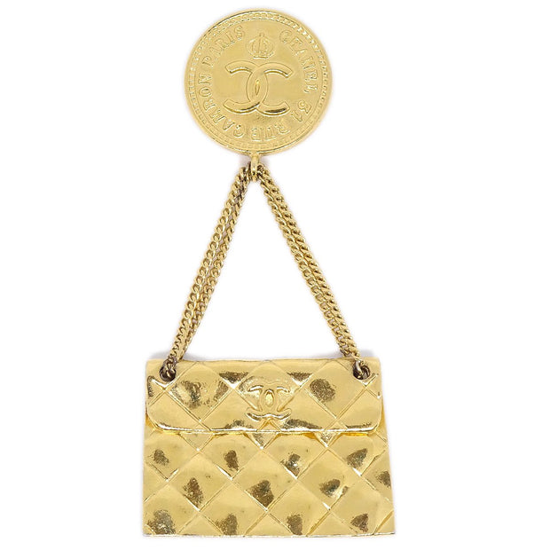 CHANEL Quilted Bag Brooch Pin Gold Corsage 26