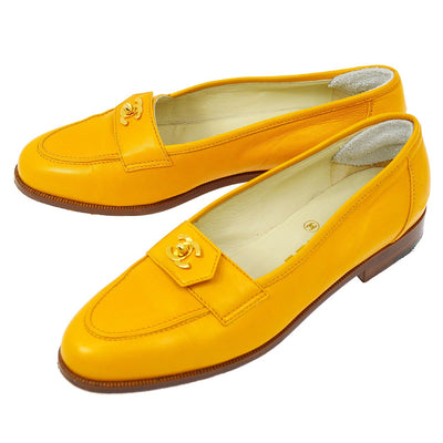 CHANEL Turnlock Loafers Shoes Orange #38