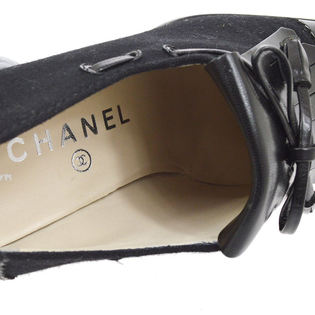 CHANEL Fringe Loafers Shoes Black Suede #36C