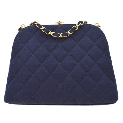 CHANEL CC Double Chain Shoulder Bag Navy Cotton