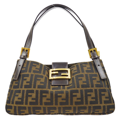 FENDI Zucca Mamma Baguette Hand Bag Brown